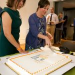 cake cutting for first year of the UVA Global Infectious Diseases Institute