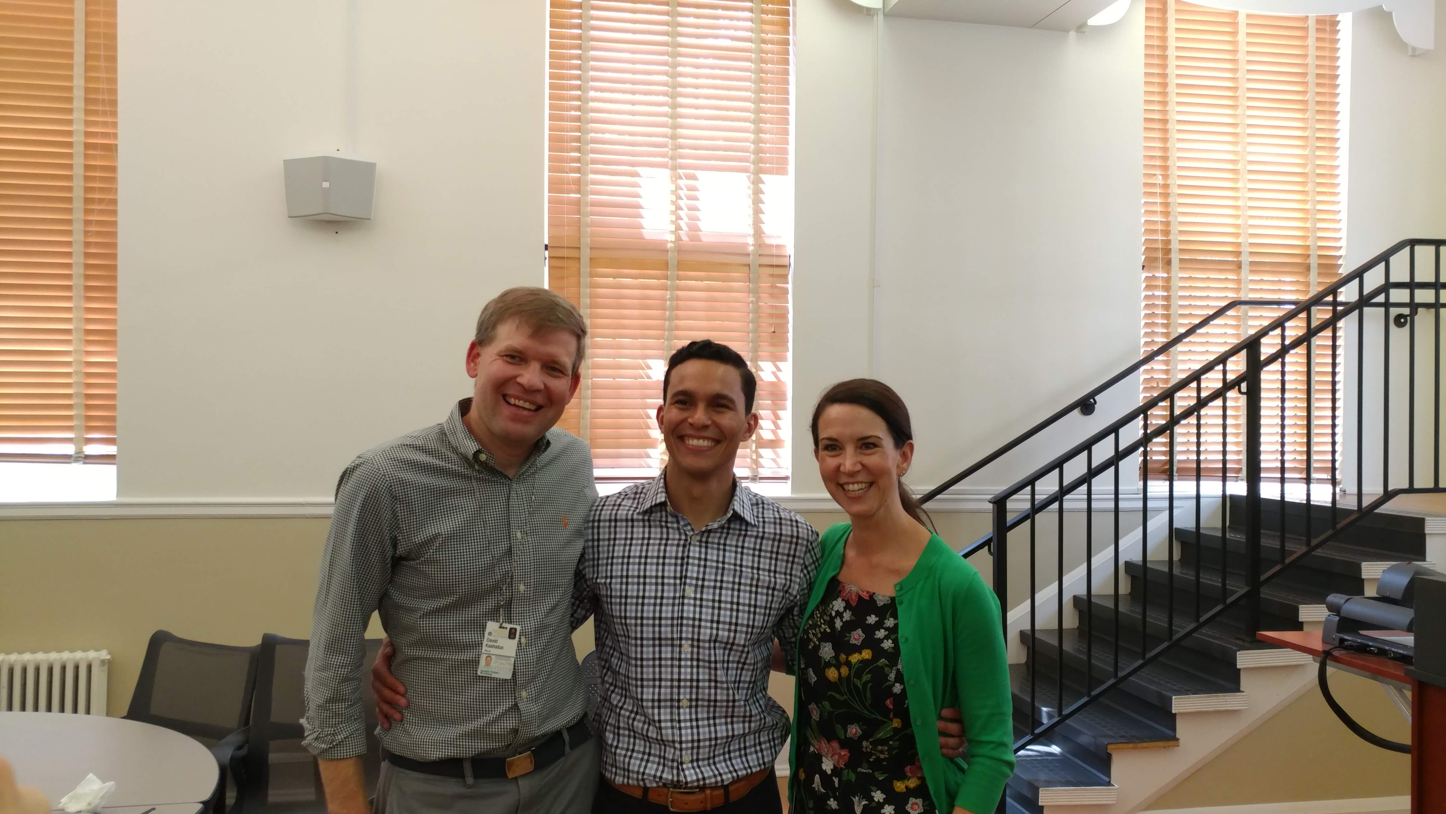 Group picture of Dr. Nascimento and Dave and Jen Kashatus after his successful defense.