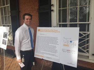 CJ presents his research on the lawn during UVA public days, April 2016.