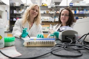 Researchers Melissa Kendall, left, and Beth Melson in lab